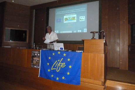 Professor K. Georghiou presenting the report of the UoA. (Photo: Christos Georgiadis)