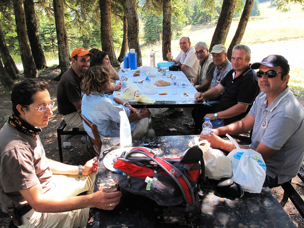 Rest, a light lunch and discussions in the shade of the firs. (Photo: G. Politis)