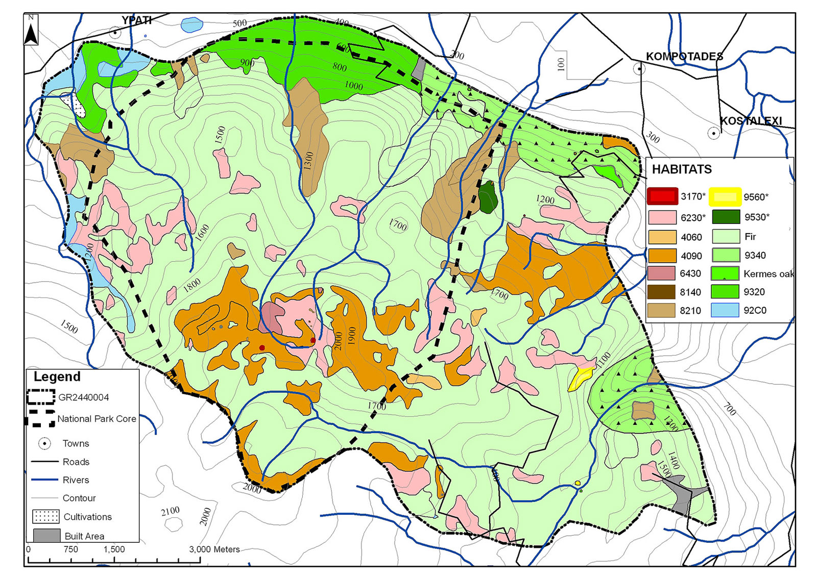 The existing habitat map for GR2440004