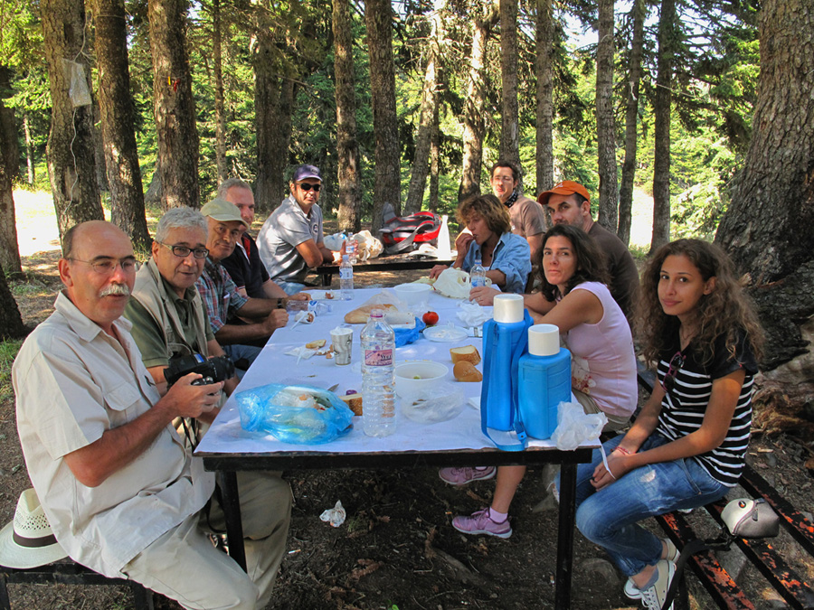 Ξεκούραση, ελαφρύ γεύμα και συζήτηση για το έργο στη σκιά των ελάτων της Οίτης. (Φωτο: Γ. Πολίτης)